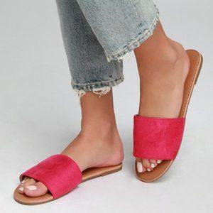 Lulus Addison Fuchsia Suede Slide Sandals Sz 6.5